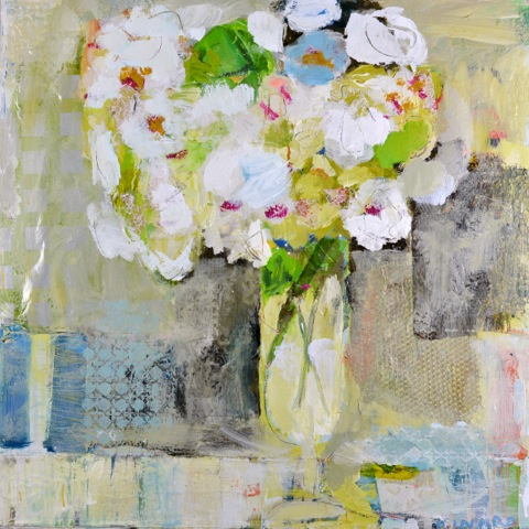 Mixed Bouquet With Blue Stripe 36x36