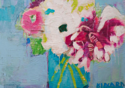 Dahlias On Blue 36x36