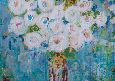 White Roses On Blue 36x36